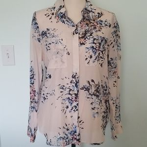 WHITE HOUSE BLACK MARKET sheer button down blouse
